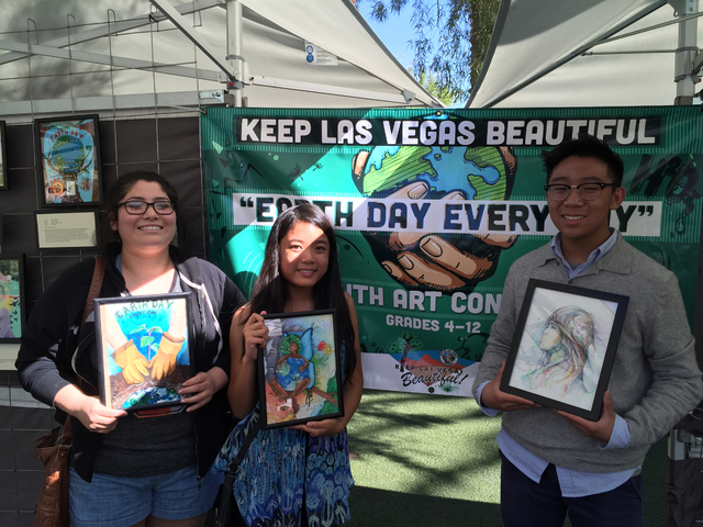 From left are high school winners of the Keep Las Vegas Beautiful program's Earth Day Every Day Youth Art and Essay Contest Rebekah Solorzano, Sophia Chongtai and Kevin Chung. Special to View