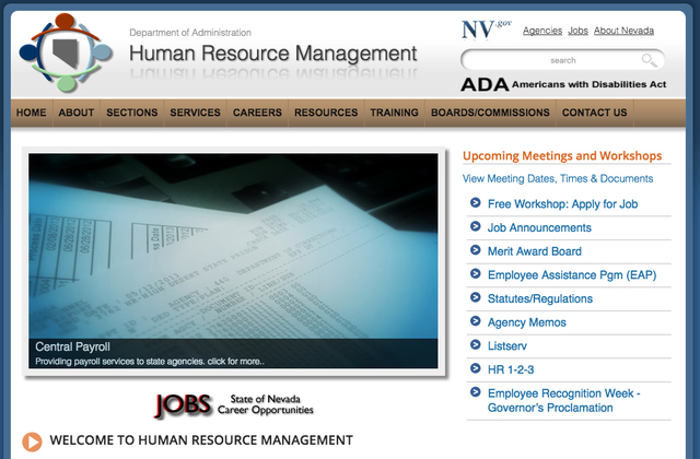 Screengrab (Division of Human Resource Management website).