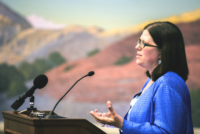 UNLV Associate Professor Dr. Alexis Kennedy speaks during a seminar on human trafficking and child exploitation at Lloyd George U.S. Courthouse in Las Vegas on Wednesday, May 25, 2016. Jeff Scheid ...