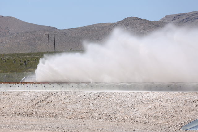 Hyperloop makes its first public testing of its transit technology. (Jeff Scheid/Las Vegas Review-Journal)