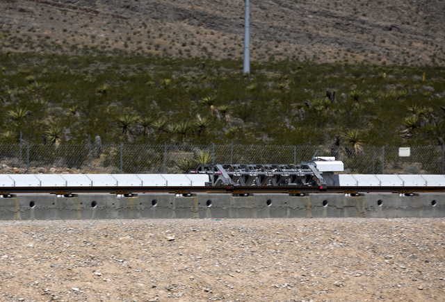 The Hyperloop One test vehicle propels down a set of tracks during the first public test at Apex on Wednesday, May 11, 2016. Jeff Scheid/Las Vegas Review-Journal Follow @jlscheid