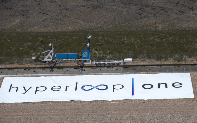 The Hyperloop One sled recovery vehicle returns the test vehicle after its first public test at Apex on Wednesday, May 11, 2016. Jeff Scheid/Las Vegas Review-Journal Follow @jlscheid