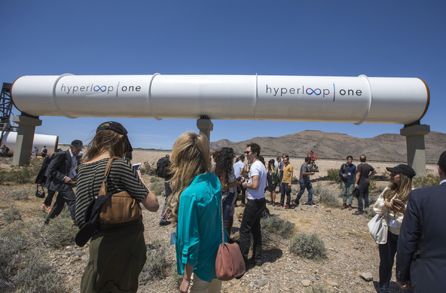 Media and invited guests view the Hyperloop One tubes under construction at Apex on Wednesday, May 11, 2016. Jeff Scheid/Las Vegas Review-Journal Follow @jlscheid