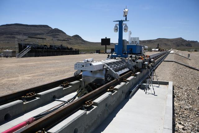 Hyperloop One test vehicle is seen after its first public test at Apex on Wednesday, May 11, 2016. Jeff Scheid/Las Vegas Review-Journal Follow @jlscheid