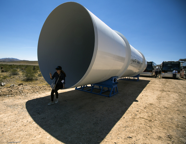 A woman sits in a Hyperloop One tube at Apex on Wednesday, May 11, 2016. Jeff Scheid/Las Vegas Review-Journal Follow @jlscheid