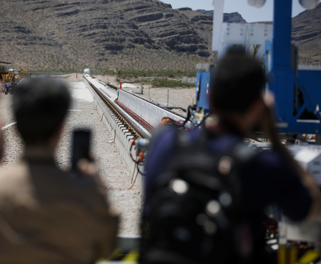 People take photos of the Hyperloop One test track at Apex on Wednesday, May 11, 2016. Jeff Scheid/Las Vegas Review-Journal Follow @jlscheid