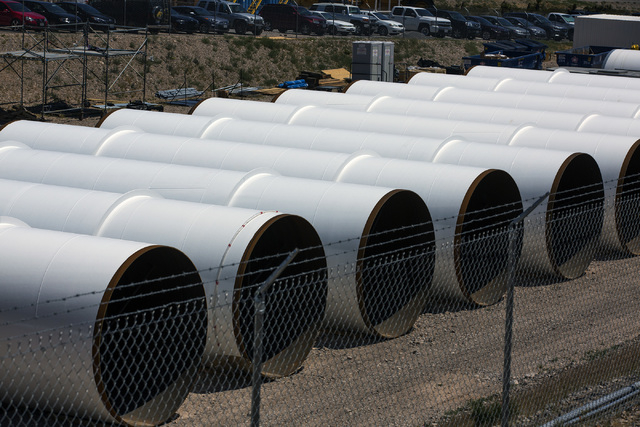 A row of Hyperloop One tubes are seen at Apex on Wednesday, May 11, 2016. Jeff Scheid/Las Vegas Review-Journal Follow @jlscheid