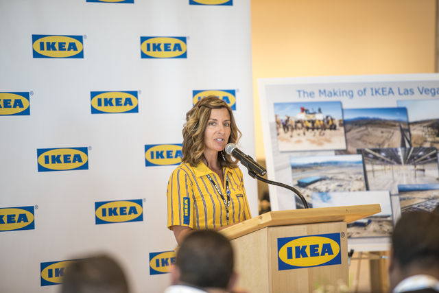 Amy Jensen, the store manager of IKEA Las Vegas, speaks to media on Wednesday, May 11, 2016. The new IKEA located near Durango and 215 opens on May 18th. Joshua Dahl/Las Vegas Review-Journal