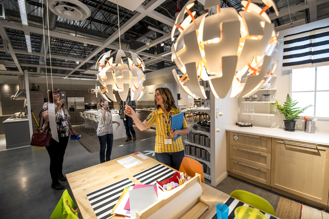 Amy Jensen, the store manager of IKEA Las Vegas, demonstrates a light fixture on Wednesday, May 11, 2016. The new IKEA located near Durango and 215 opens on May 18th. Joshua Dahl/Las Vegas Review- ...