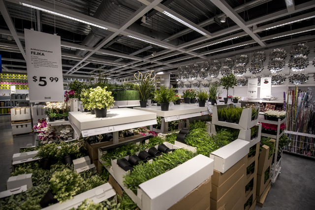Artificial plants are displayed in the IKEA showroom on Wednesday, May 11, 2016. The new IKEA located near Durango and 215 opens on May 18th. Joshua Dahl/Las Vegas Review-Journal
