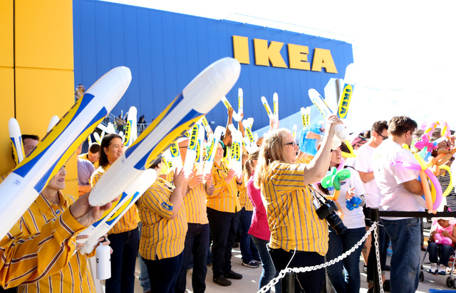 Nevada's first IKEA store employees react during the store's grand opening ceremony on Wednesday, May 18, 2016. Bizuayehu Tesfaye/Las Vegas Review-Journal Follow @bizutesfaye