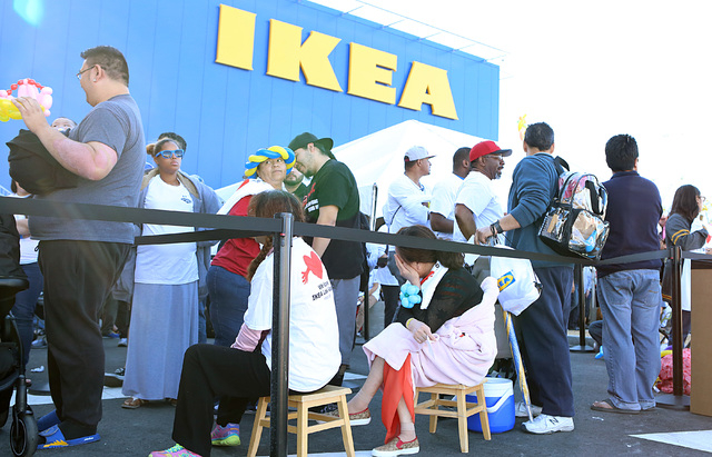 People rest in line outside Nevada's first IKEA store to wait for its opening on Wednesday, May 18, 2016. Bizuayehu Tesfaye/Las Vegas Review-Journal Follow @bizutesfaye