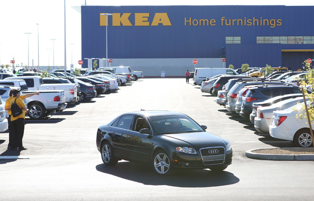Cars filled Nevada's first IKEA store's parking lot during its grand opening on Wednesday, May 18, 2016. Bizuayehu Tesfaye/Las Vegas Review-Journal Follow @bizutesfaye