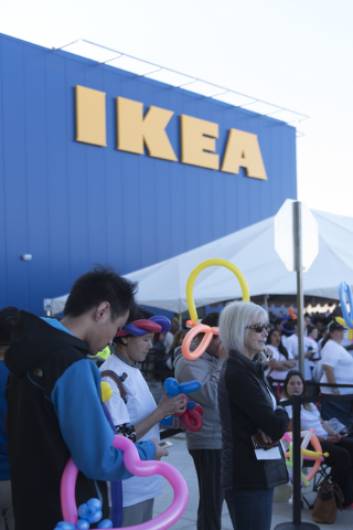 Patrons gather to watch entertainers during the opening day event for IKEA in Las Vegas Wednesday, May 18, 2016. Jason Ogulnik/Las Vegas Review-Journal
