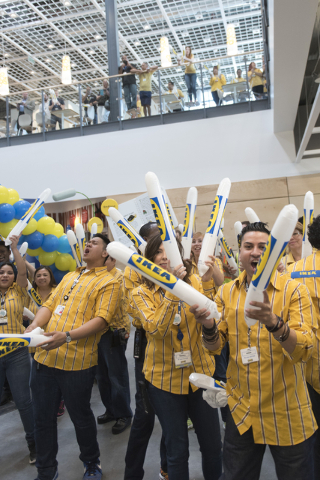 Employees greet patrons as they enter the store during the opening day event for IKEA in Las Vegas Wednesday, May 18, 2016. Jason Ogulnik/Las Vegas Review-Journal