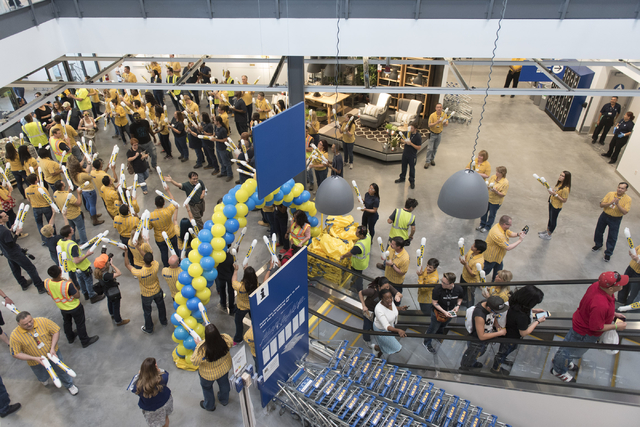 Patrons are greeted by employees as they enter the store during the opening day event for IKEA in Las Vegas Wednesday, May 18, 2016. Jason Ogulnik/Las Vegas Review-Journal