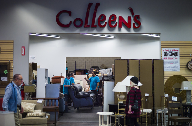 Employees organize furniture as customers browse in Colleen's Classic Consignment at 5120 S. Fort Apache Road in Las Vegas on Friday, May 6, 2016. Chase Stevens/View Follow @csstevensphoto