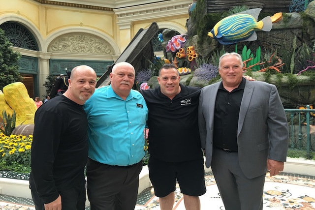 """Tanked"" stars Brett Raymer and Wayde King and Bellagio's Jerry Bowlen, Executive Director of Horticulture on the opening night of the Conservatory's ""Under the Sea"" display on Friday, May 20, 201 ..."