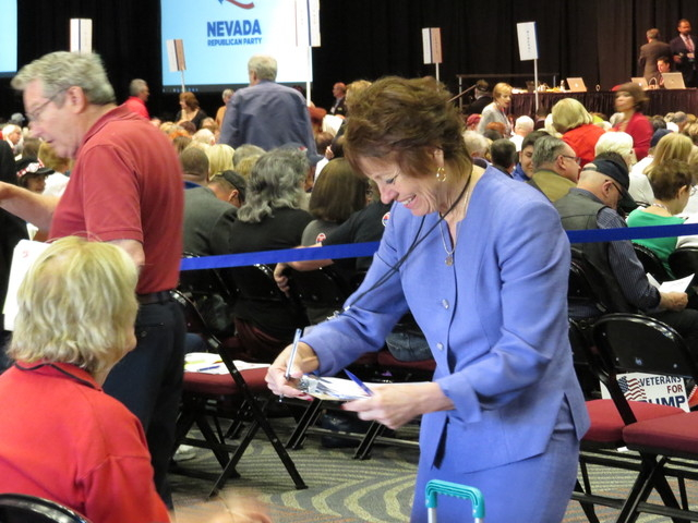 Sharron Angle, Nevada Republican U.S. Senate candidate, mingles Saturday, May 15, 2016, at the GOP state convention in Reno. (Sandra Chereb/Las Vegas Review-Journal)