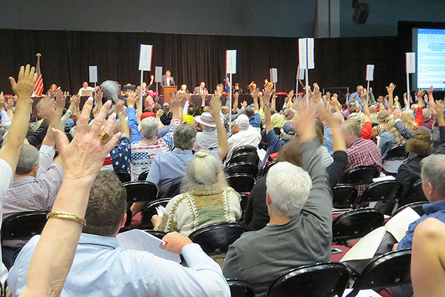 RENO _ With a show of hands, delegates at the state Republican convention in Reno vote to adopt a party platform Sunday, May 15, 2016. (Sandra Chereb Review-Journal.)