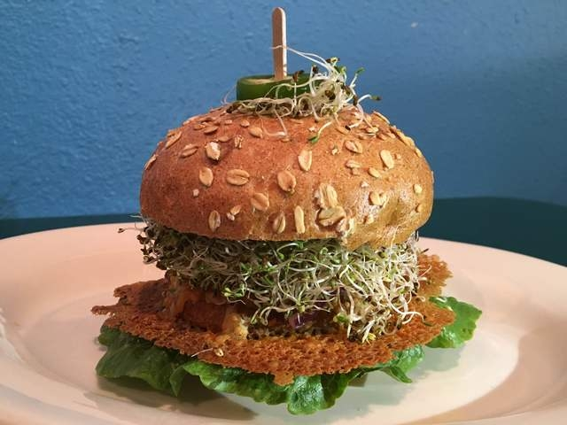 The Marinated Chick Burger is seen at Rainbow's End Cafe, 1100 E. Sahara Ave., No. 120.The burger is made with a soy and vegetable-based patty marinated in roasted balsamic ginger dressing and ser ...