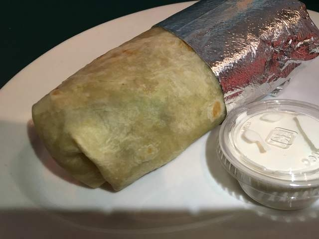 The Rainbow Burrito is seen at Rainbow's End Cafe, 1100 E. Sahara Ave., No. 120.The burrito is made with a sprouted grain tortilla, organic basmati rice and black beans with avocado, romaine, toma ...