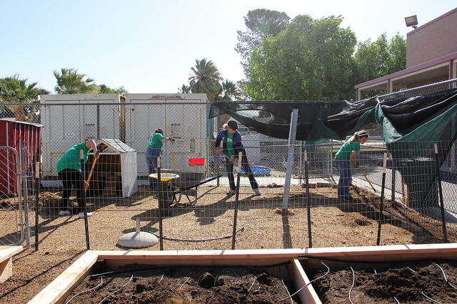 In April 2016, Rebuilding Together Southern Nevada and commercial real estate agency CBRE provided more than $10,000 worth of revitalization services to the Animal Lab and Gardening programs at Ho ...