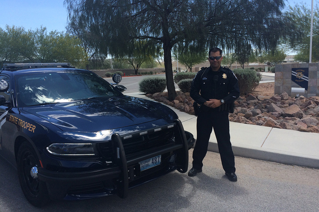 Nevada Highway Patrol trooper Sam Acosta. This week marks the beginning of the national Click It or Ticket campaign, a multi-jurisdictional law enforcement program focused on saving lives. (Lawren ...