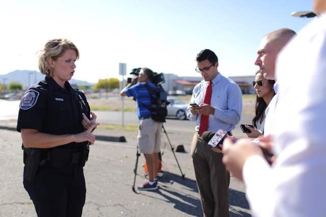 North Las Vegas police spokeswoman Ann Cavaricci briefs the media on an officer-involved shooting at the SilverNugget casino, 2140 Las Vegas Blvd. North, on Thursday, May 19, 2016. (Brett Le Bla ...