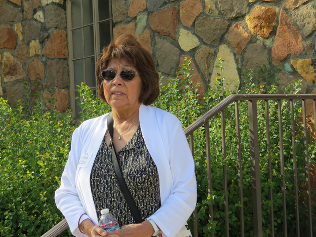 Gloria Whiterock McDonald stands outside the dormitory where she lived in the 1960s while attending Stewart Indian School in Carson City on Saturday, May 21, 2016. McDonald recalled her time at St ...