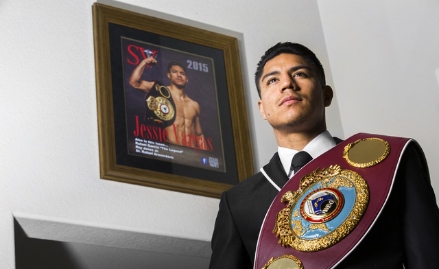 World Boxing Organization welterweight champion Jesse Vargas was recently recognized by the Clark County Commission for his work improving the lives of Las Vegas-area at-risk youth. Photo taken Su ...