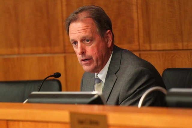 North Las Vegas Mayor John Lee speaks during an agenda during a city council meeting at North Las Vegas City Hall on Wednesday, May 20, 2015. (Chase Stevens/Las Vegas Review-Journal Follow @csstev ...