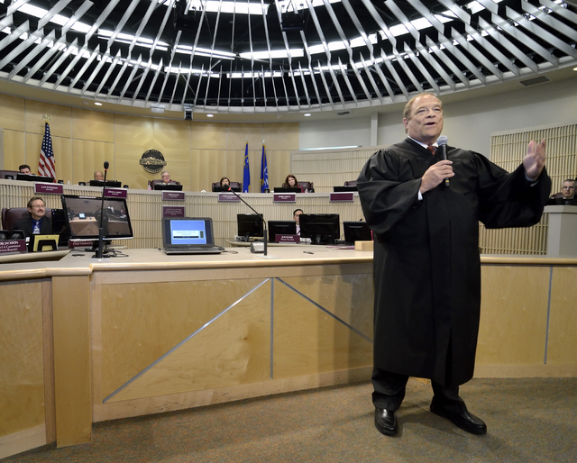 Rodney Burr speaks after being sworn in as municipal judge at Henderson City Hall at 240 S. Water St. in Henderson on Tuesday, May 17, 2016. Bill Hughes/Las Vegas Review-Journal