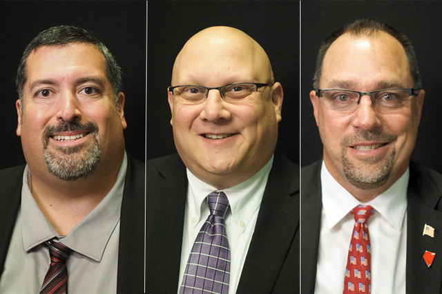 Candidates for Las Vegas Justice of the Peace Dept. 9, from left, Joe Bonaventure (incumbent), Steven Goldstein, Robert Kurth. The three will face off in the June primary. (Las Vegas Review-Journal)