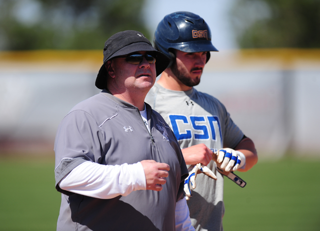 College of Southern Nevada head coach Nick Garritano, left, stands with player Jordan Hand during their baseball practice at Morse Field on the College of Southern Nevada Henderson campus Wednesda ...