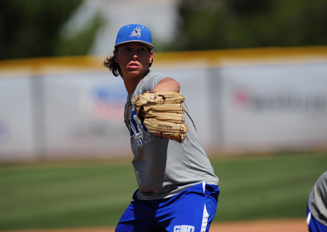 College of Southern Nevada pitcher Mikey York is seen during a bunting drill at baseball practice at Morse Field on the College of Southern Nevada Henderson campus Wednesday, April 20, 2016. Josh  ...