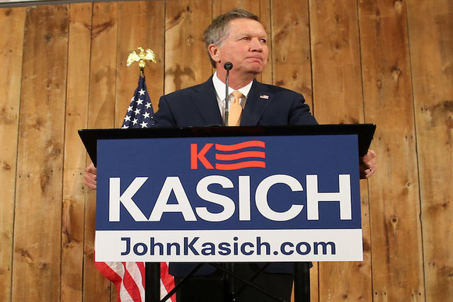 Ohio Governor John Kasich speaks to withdraw as a U.S. Republican presidential candidate in Columbus, Ohio, U.S., May 4, 2016. (Aaron Josefczyk/Reuters)