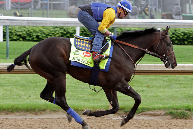 Kentucky Derby entrant Mor Spirit, ridden by George Alvarez, gallops at Churchill Downs in Louisville, Ky., Thursday, May 5,  2016. The 142nd Kentucky Derby is Saturday, May 7. (Garry Jones/AP)