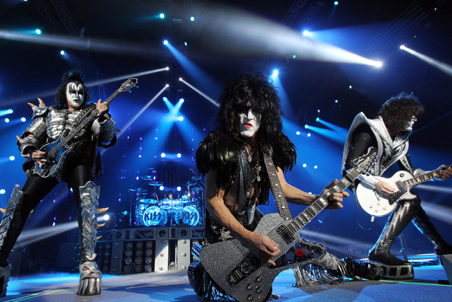 Members of the rock band Kiss, from left, Gene Simmons, Eric Singer, Paul Stanley and Tommy Thayer, perform at The Joint at the Hard Rock hotel-casino in Las Vegas for the start of their residency ...