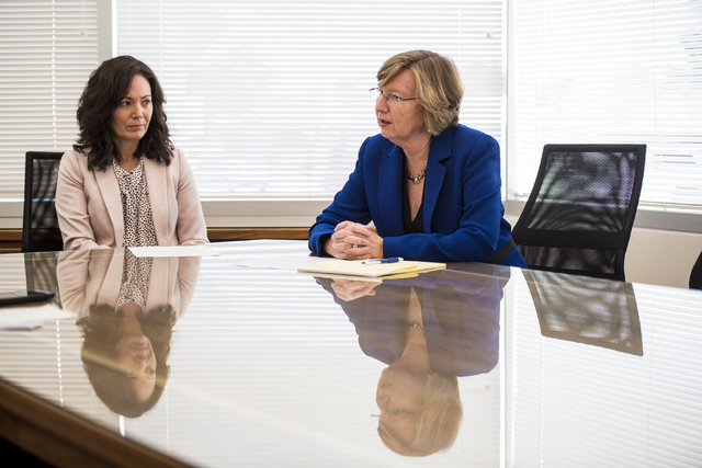 Christine Miller, left, of the Legal Aid Center of Southern Nevada, and Barbara Buckley, the center's executive director, speak during an interview in Las Vegas on Wednesday, May 18, 2016. Joshua  ...