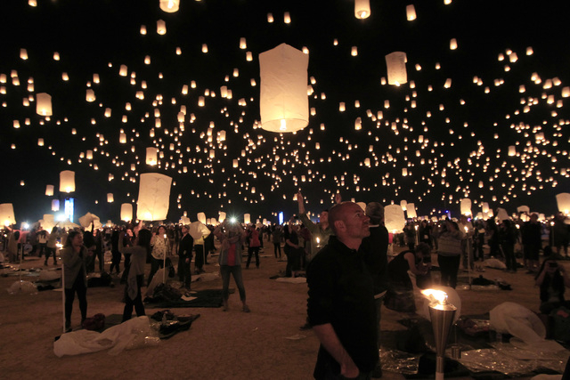 Paper Lanterns Are Released And Float To The Sky At Rise Festival Saay Oct