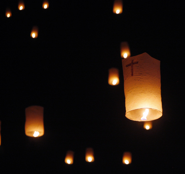 Paper lanterns float up at the RiSE Festival Saturday, Oct. 18, 2014 on a dry lake bed near Jean.  (Sam Morris/Las Vegas Review-Journal)