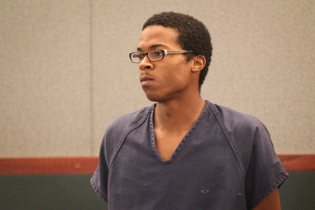 Lee Dominic Sykes, 20, makes a court appearance at the Regional Justice Center in Las Vegas on Friday, May 6, 2016. tktktk was arrested for his alleged role in the killing of a Lee's Discount Liqu ...