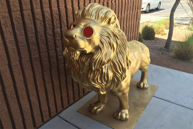 A golden lion statue was found Monday morning, a day after it was stolen from an art installation on Decatur Boulevard. (Twitter/@ClarkCountyNV)
