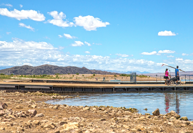 Fisherman walk on the ramp at Lake Mead Marina at Lake Mead National Recreation Area, Wednesday, May 18, 2016, in Boulder City, Nevada. Benjamin Hager/Las Vegas Review-Journal