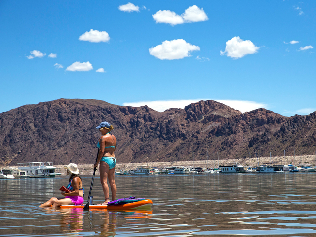 Paddle boarders Leslie Harris, right, and Toni Brown look out at Lake Mead Marina at Lake Mead National Recreation Area, Wednesday, May 18, 2016, in Boulder City, Nevada. Benjamin Hager/Las Vegas  ...