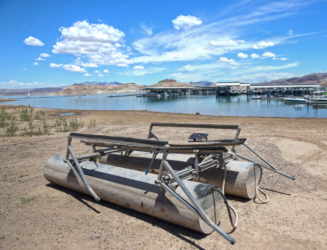 An abandoned pontoon frame at Lake Mead Marina at Lake Mead National Recreation Area, Wednesday, May 18, 2016, in Boulder City, Nevada. Benjamin Hager/Las Vegas Review-Journal