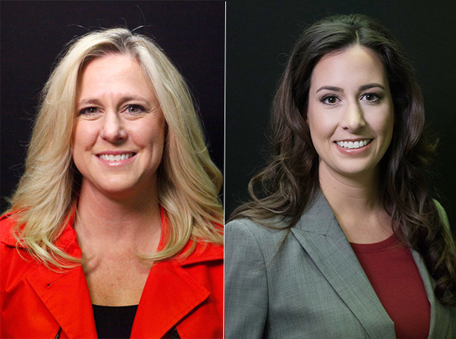 Candidates for Las Vegas Justice of the Peace Dept. 4, from left, Melissa Saragosa (incumbent) and Amber Candelaria are photographed at the Las Vegas Review-Journal offices in 2016. Jillian Prieto ...