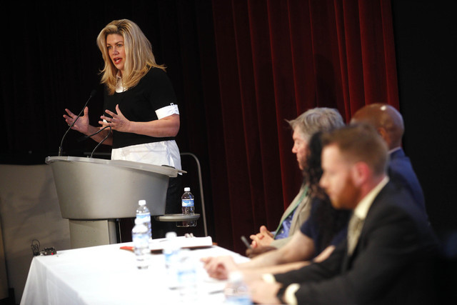 "Nevada State Sen. Patricia Farley speaks at the panel event ""Breaking Barriers to Medical Marijuana Research"" in the Greenspun School of Journalism Auditorium at UNLV on Wednesday, May 25, 2016. R ..."