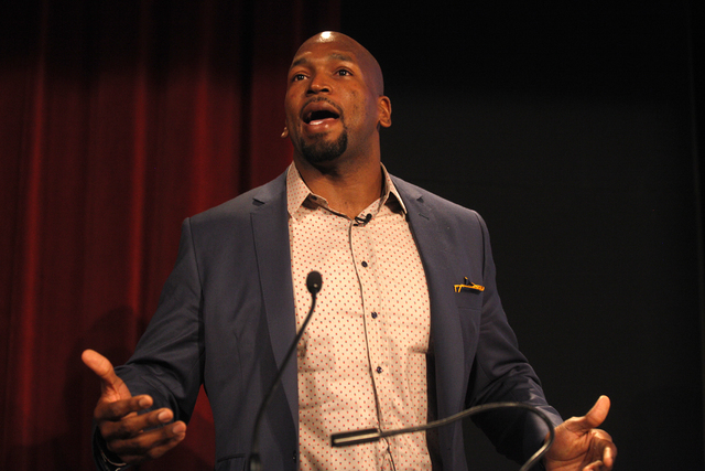 "Baltimore Ravens player Eugene Monroe speaks at the panel event ""Breaking Barriers to Medical Marijuana Research"" in the Greenspun School of Journalism Auditorium at UNLV on Wednesday, May 25, 201 ..."